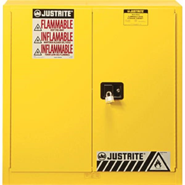 """Justrite® Sure-Grip® EX Safety Cabinets w/ Manual Doors, 40 gal, 44""""H x 43""""W x 18""""D, 3 Shelves (Combustibles)"""