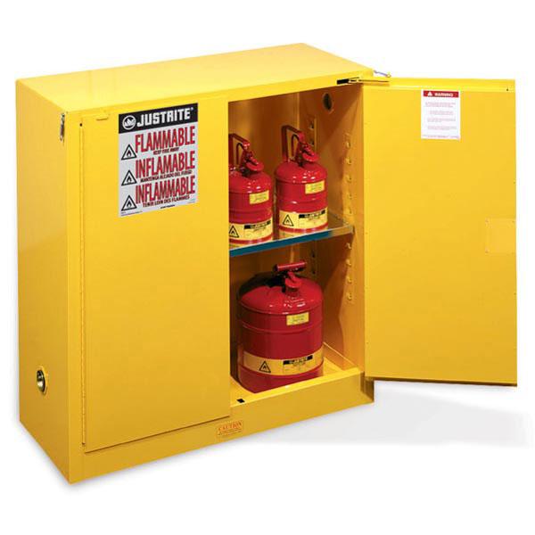 "Justrite® Sure-Grip® EX Safety Cabinets w/ Self-Closing Doors, 30 gal, 44""H x 43""W x 18""D, IFC, 1 Shelf"