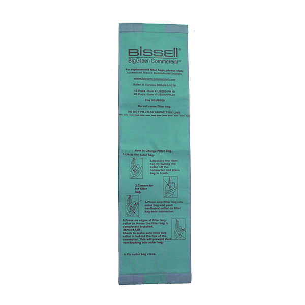 Bissell® BigGreen Commercial® Replacement Bags (For U8000BG), 25/Pkg