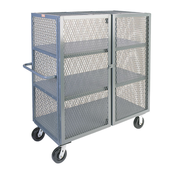 "Jamco Mesh Security Truck, 3 Shelves, 57""H x 48""W x 24""D"