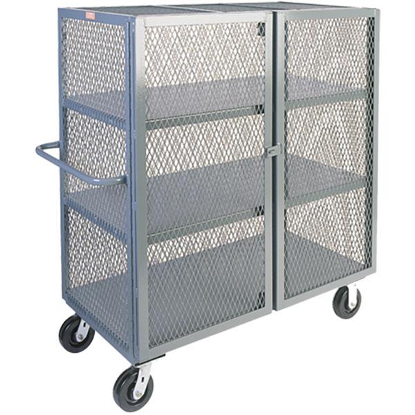 "Jamco Mesh Security Truck, 3 Shelves, 57""H x 48""W x 30""D"