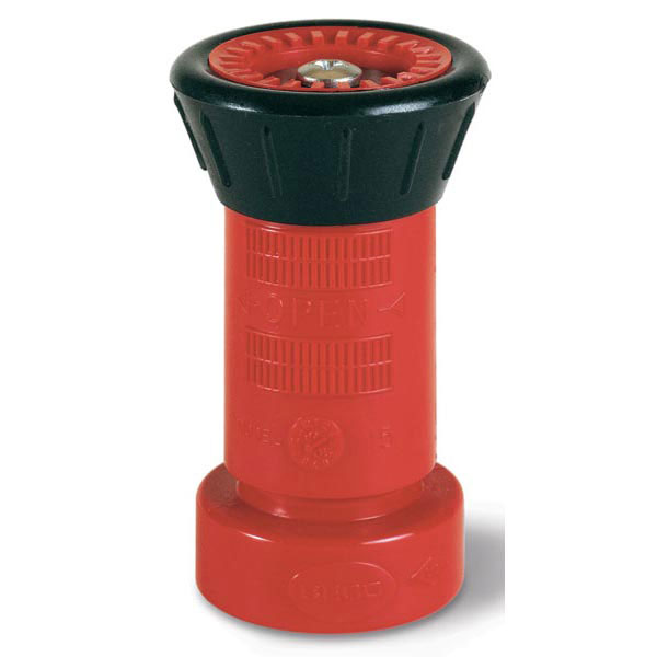 "All-Fog Polycarbonate Fire Hose Nozzle, 1 1/2"" NST, Fog/Shut-Off, 78 gpm"