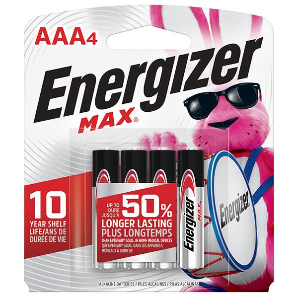 Energizer® Max® Alkaline AAA Batteries, 4/Pkg