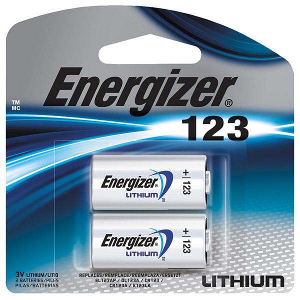 Energizer® 123 Lithium Battery, 2/Pkg