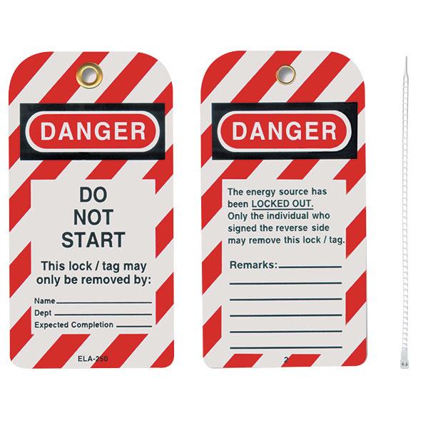 """Honeywell® Styrene Lockout Tags, """"Do Not Start"""""""