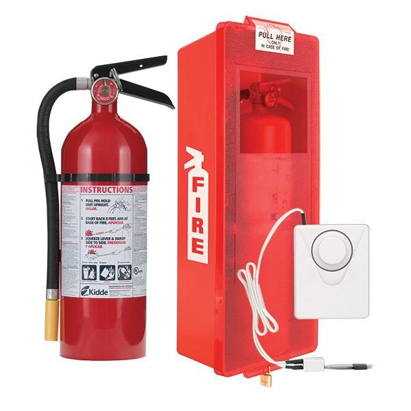 5 lb ABC Pro Line Fire Extinguisher w/ Mark I Jr. Cabinet, White Tub/Red Cover, and Cabinet Alarm, White