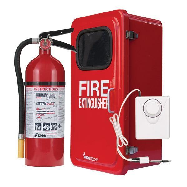 "5 lb ABC Pro Line Fire Extinguisher w/ Firetechâ""¢ Fiberglass Cabinet, and Cabinet Alarm, White"