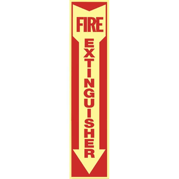 """Fire Extinguisher"" Arrow Sign, Self-Adhesive/Glow-in-the-Dark Vinyl, 18"" x 4"""