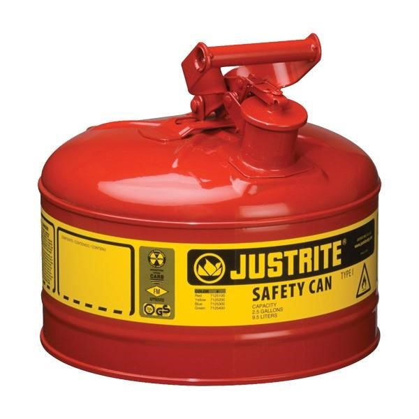 Justrite® Type I Safety Can, 2.5 gal, Red