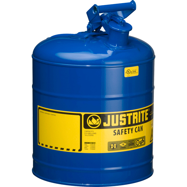 Justrite® Type I Safety Can, 5 gal, Blue