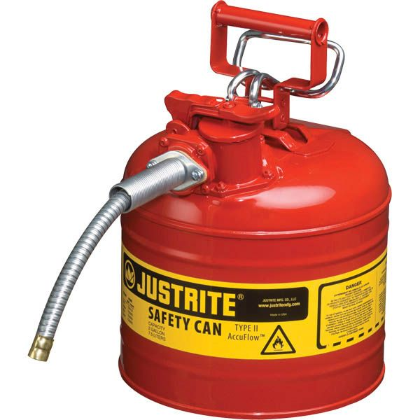 """Justrite® Type II Safety Can, 2 gal, 5/8"""" Hose, Red"""