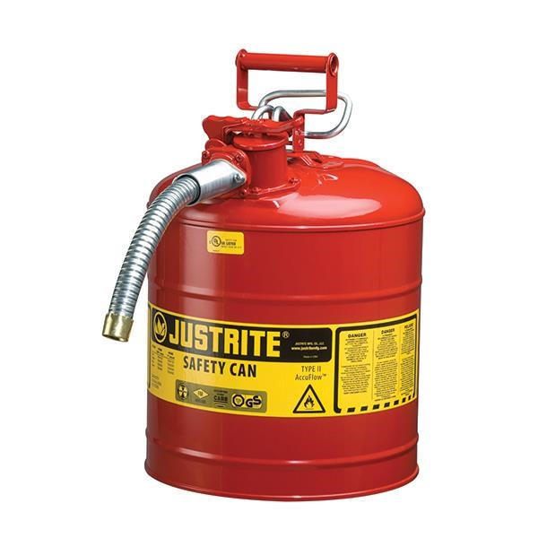 """Justrite® Type II Safety Can, 5 gal, 5/8"""" Hose, Red"""