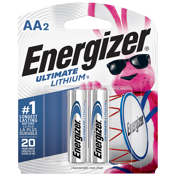 Energizer® Ultimate Lithium® AA Batteries, 2/Pkg