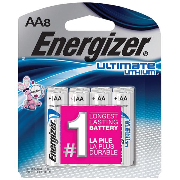 Energizer® Ultimate Lithium® AA Batteries, 8/Pkg
