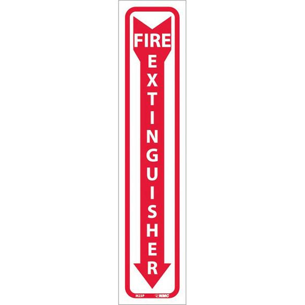 "NMCâ""¢ Fire Extinguisher Sign, Pressure Sensitive Vinyl, 18"" x 4"""