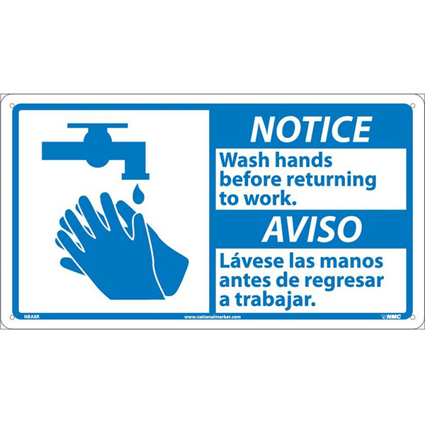 "NMCâ""¢ ""Notice Wash Hands Before Work"" Sign, Billingual"