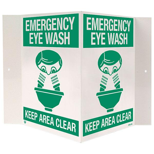 """""""Emergency Eyewash"""", 3-D, Rigid Plastic Sign, 18"""" x 10"""""""