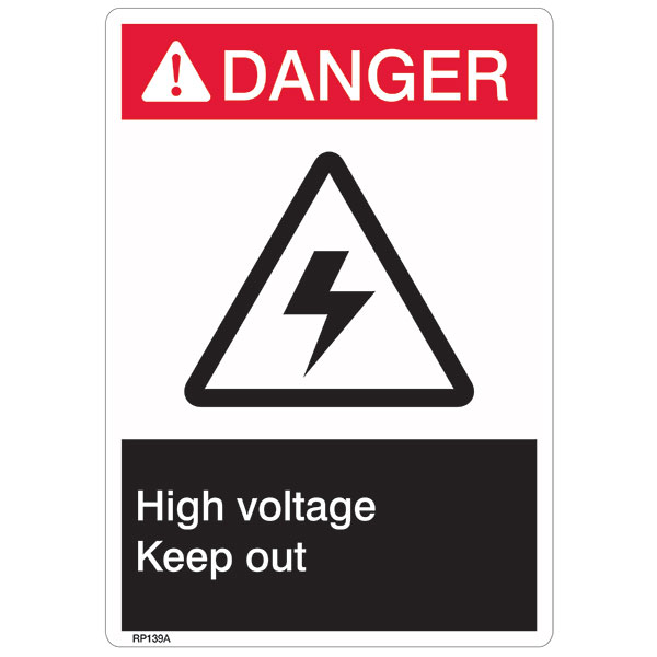 "ANSI Z535 Rigid Plastic ""Danger High Voltage"" Sign, 7"" x 10"""