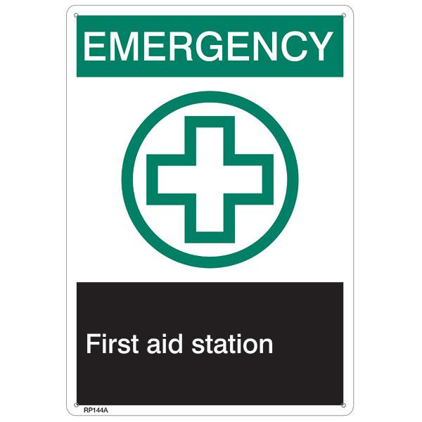 """ANSI Z535 Rigid Plastic """"Emergency First Aid…"""", 7"""" x 10"""""""