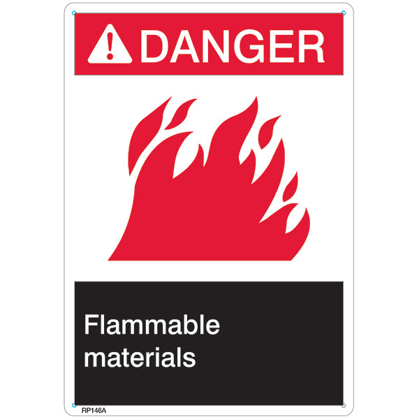 "ANSI Z535 Rigid Plastic ""Danger Flammable Materials"" Sign, 7"" x 10"""