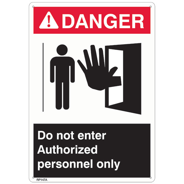 "ANSI Z535 Rigid Plastic ""Danger Authorized Personnel Only"" Sign, 7"" x 10"""