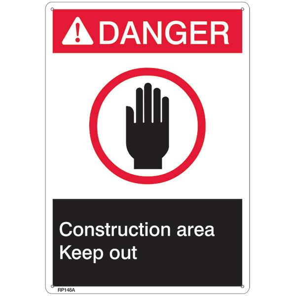 "ANSI Z535 Rigid Plastic ""Danger Construction Area"" Sign, 7"" x 10"""