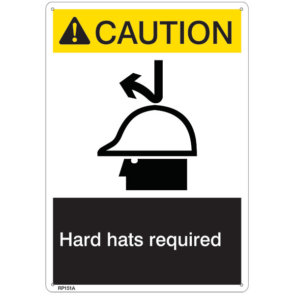 "ANSI Z535 Rigid Plastic ""Caution Hard Hat Required"" Sign, 7"" x 10"""