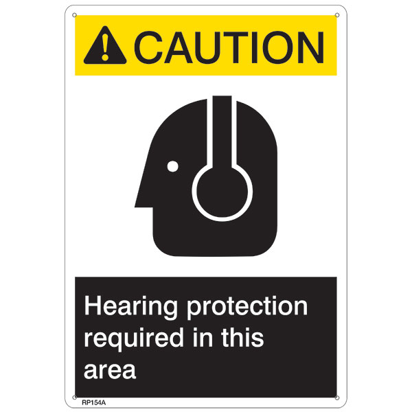 "ANSI Z535 Rigid Plastic ""Caution Hearing Protection..."" Sign, 7"" x 10"""