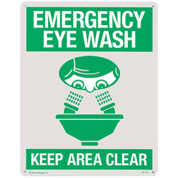 """""""Emergency Eyewash"""", Rigid Plastic, 8"""" x 10"""""""
