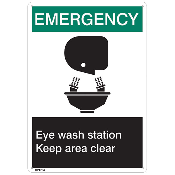 "ANSI Z535 Rigid Plastic ""Emergency Eye Wash…"", 7"" x 10"""