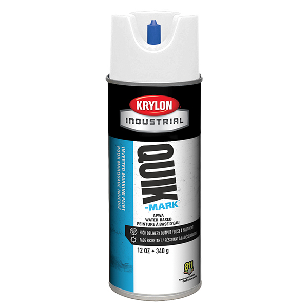 Krylon® Quik-Mark™ Inverted Marking Paint, Water Based, Brilliant White, 12 oz