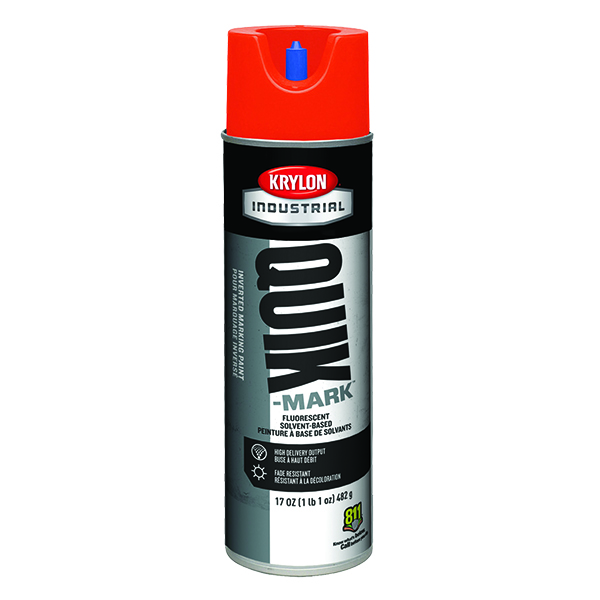 Krylon Quik-Mark Inverted Marking Paint, Water Based, Fluorescent Safety Red