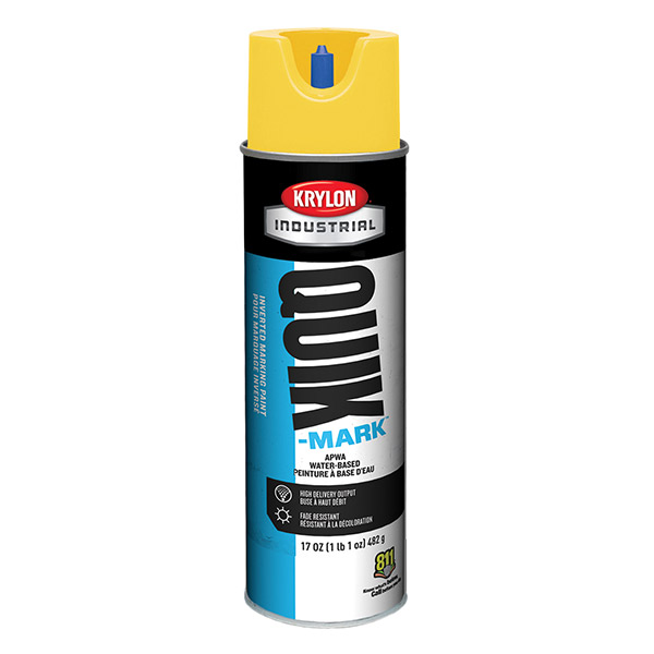 Krylon® Quik-Mark™ Inverted Marking Paint, Water Based, APWA Yellow, 20 oz