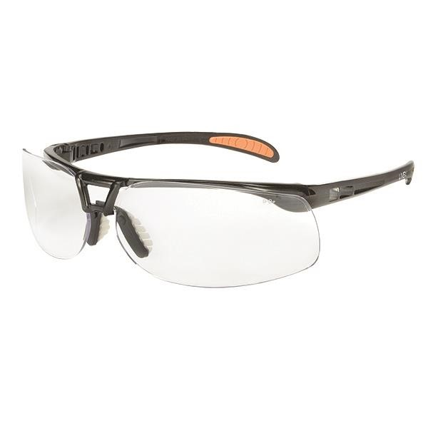 Uvex® Protégé® Eyewear, Metallic Black Frame, Clear Anti-Fog Lens