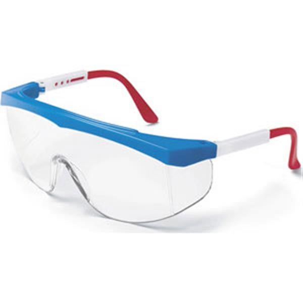 MCR Safety® Stratos® Eyewear, Red/White/Blue Frame, Clear Lens