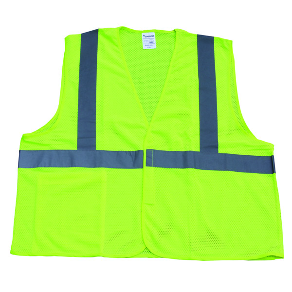 "TruForceâ""¢ Class 2 Solid Mesh Safety Vest, Lime, Large"