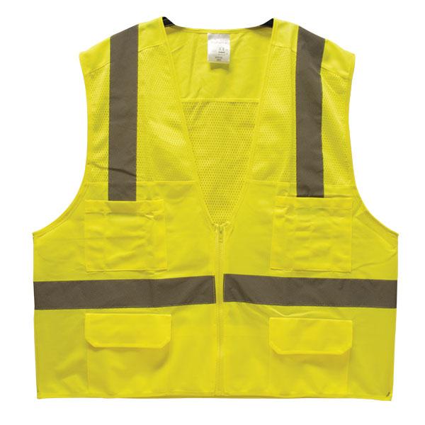 "TruForceâ""¢ Class 2 Surveyor's Safety Vest, Lime, Medium"