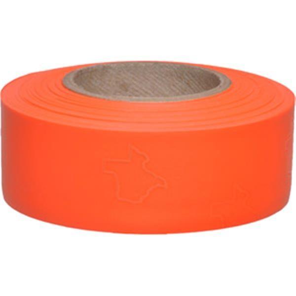 "Presco Solid-Color Roll Flagging, Texas, PresGlo, 1 3/16"" x 150', Orange Glo, 12/Case"