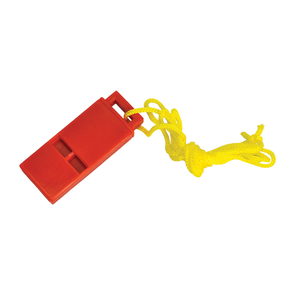 Plastic Whistle w/ Lanyard, Red